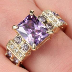 Jewelry - Purple Amethyst 10k Gold Fill Ring GF Size 8 CZ